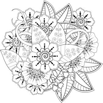 Zarys kwadratowy kwiatowy wzór w stylu mehndi. doodle ornament w czerni i bieli. ilustracja rysować ręka.