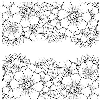 Zarys kwadratowy wzór kwiatowy w stylu mehndi do kolorowania strony książki doodle ornament