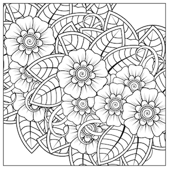 Zarys kwadratowy wzór kwiatowy w stylu mehndi do kolorowania strony książki
