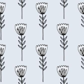 Zarys kwiat tulipana wzór. kwiatowy ornament z czarnym konturem na jasnym tle.