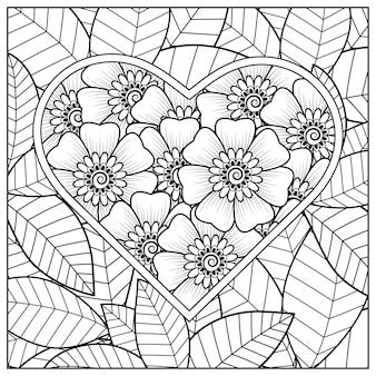 Zarys kwiatowy ramkę w kształcie serca w stylu mehndi.