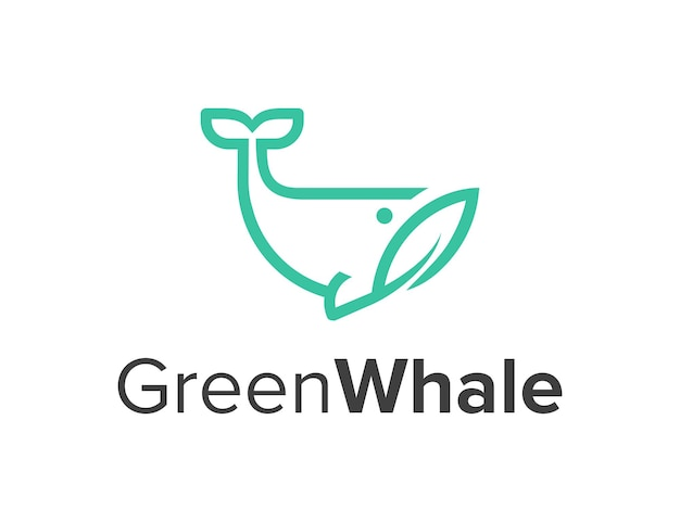 Zarys liści wieloryba i liści prosty elegancki kreatywny geometryczny nowoczesny projekt logo