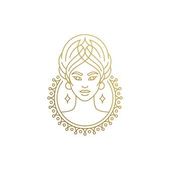 Zarys logo kobiecej twarzy w ręcznie rysowane koło z cienkimi liniami