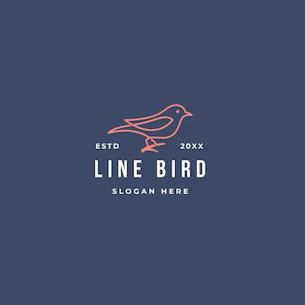 Zarys logo ptak w stylu vintage na białym tle.