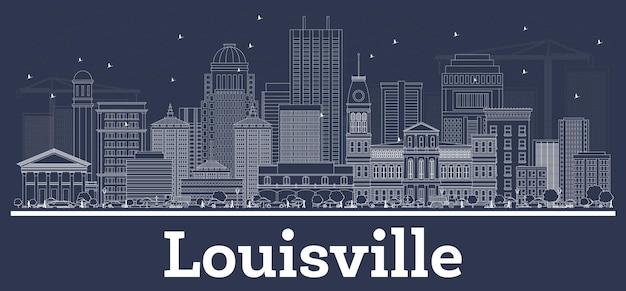 Zarys louisville kentucky usa panoramę miasta z białymi budynkami. ilustracja wektorowa. podróże służbowe i koncepcja z historyczną architekturą. gród louisville z zabytkami.