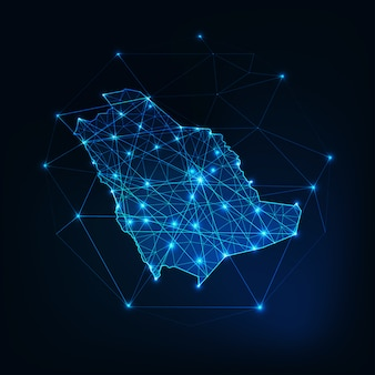 Zarys mapy arabii saudyjskiej z ramami abstrakcyjnymi gwiazd i linii.