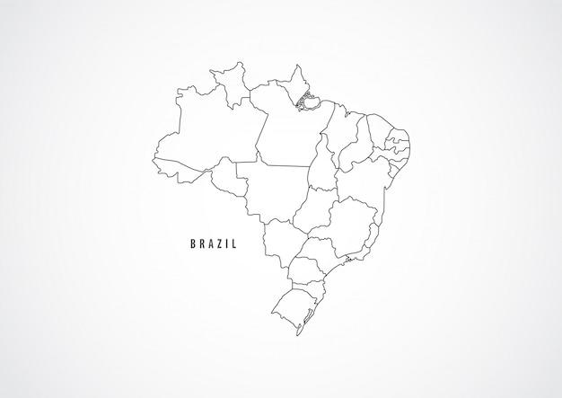 Zarys mapy brazylii na białym tle.