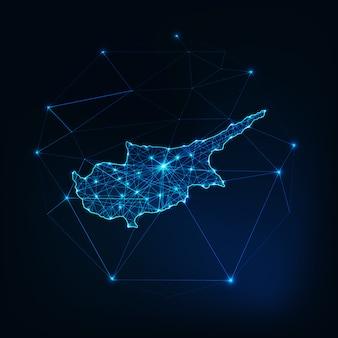 Zarys mapy cypru z ramami abstrakcyjnymi gwiazd i linii. komunikacja, koncepcja połączenia.