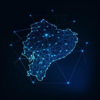 Zarys mapy ekwadoru z gwiazdami i liniami streszczenie tło ramy