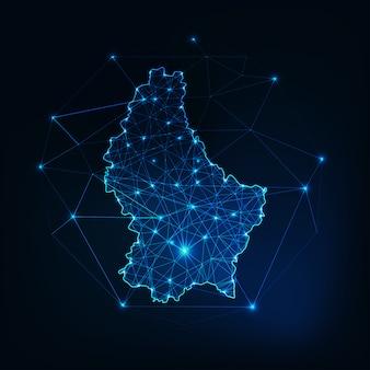 Zarys mapy luksemburga z ramami abstrakcyjnymi gwiazd i linii. komunikacja, koncepcja połączenia.