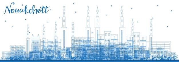 Zarys nawakszut panoramę mauretanii z niebieskimi budynkami