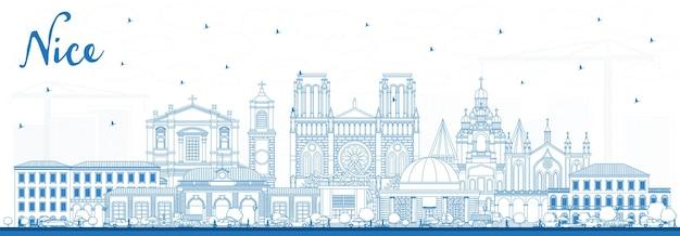 Zarys nicei panoramę miasta francja z niebieskimi budynkami. ilustracja wektorowa. podróże służbowe i koncepcja z historyczną architekturą. ładny pejzaż z zabytkami.