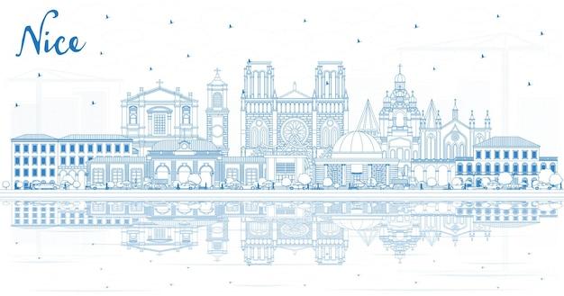 Zarys nicei panoramę miasta we francji z niebieskimi budynkami i odbiciami. ilustracja wektorowa. podróże służbowe i koncepcja z historyczną architekturą. ładny pejzaż z zabytkami.