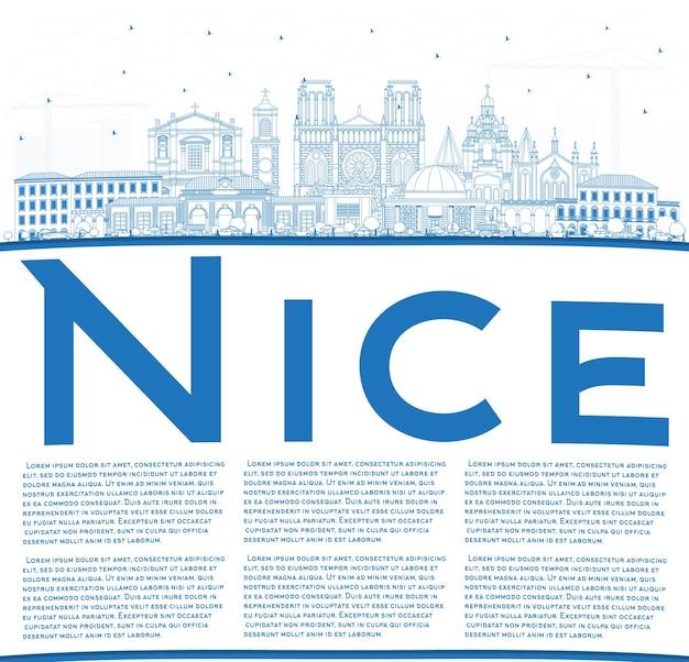 Zarys nicei panoramę miasta we francji z niebieskimi budynkami i przestrzenią do kopiowania. ilustracja wektorowa. podróże służbowe i koncepcja z historyczną architekturą. ładny pejzaż z zabytkami.