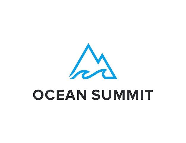 Zarys oceanu i szczytu prosty, elegancki, kreatywny, geometryczny, nowoczesny projekt logo