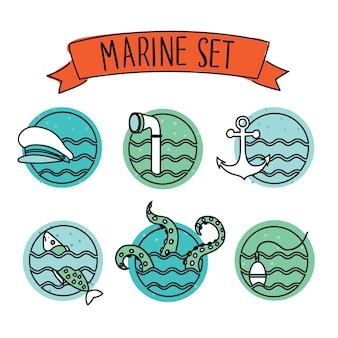 Zarys okrągłe ikony morskie. zarys okrągłe ikony morskie na białej izolacji