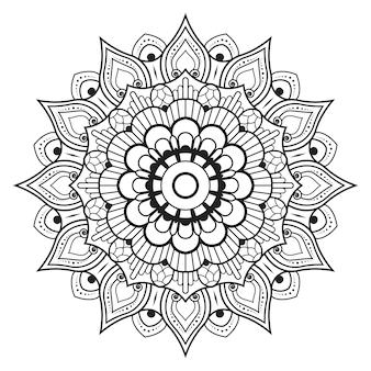Zarys okrągły mandali czarno-biały kwiatowy ornament ozdobny do kolorowania stron książki