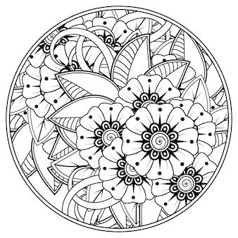Zarys okrągły wzór kwiatowy w stylu mehndi do kolorowania strony książki