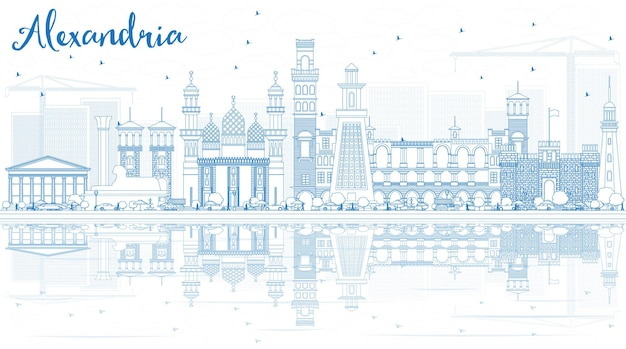 Zarys panoramę aleksandrii z niebieskimi budynkami i odbiciami. ilustracja wektorowa. podróże służbowe i koncepcja turystyki z zabytkową architekturą. obraz na baner prezentacyjny i witrynę internetową