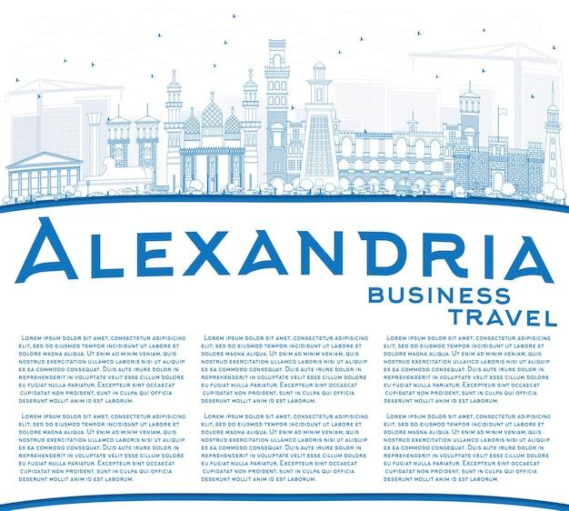 Zarys panoramę aleksandrii z niebieskimi budynkami i przestrzenią do kopiowania. ilustracja wektorowa. podróże służbowe i koncepcja turystyki z zabytkową architekturą. obraz banera prezentacji i witryny sieci web.