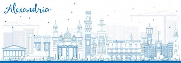 Zarys panoramę aleksandrii z niebieskimi budynkami. ilustracja wektorowa. podróże służbowe i koncepcja turystyki z zabytkową architekturą. obraz na baner prezentacyjny i witrynę internetową
