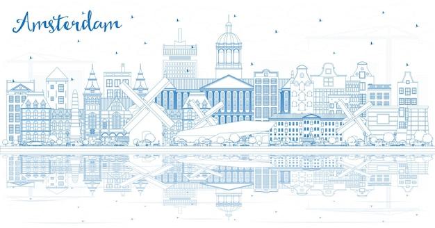 Zarys panoramę amsterdamu holland city z niebieskimi budynkami i odbiciami. ilustracja wektorowa. podróże służbowe i koncepcja turystyki z zabytkową architekturą. amsterdam gród z zabytkami.