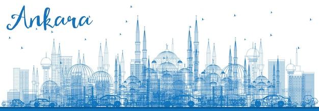 Zarys panoramę ankary z niebieskimi budynkami. ilustracja wektorowa. podróże służbowe i koncepcja turystyki z zabytkowymi budynkami. obraz banera prezentacji i witryny sieci web.