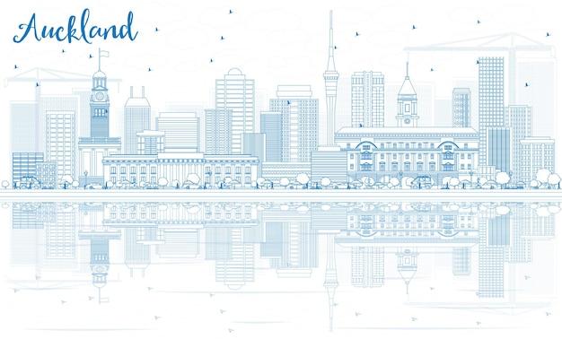 Zarys panoramę auckland z niebieskimi budynkami i odbiciami. ilustracja wektorowa. podróże służbowe i koncepcja turystyki z nowoczesnymi budynkami. obraz banera prezentacji i witryny sieci web.