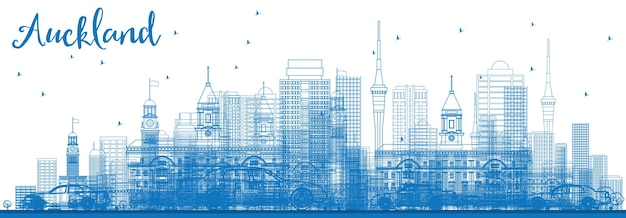Zarys panoramę auckland z niebieskimi budynkami. ilustracja wektorowa. podróże służbowe i koncepcja turystyki z nowoczesnymi budynkami. obraz banera prezentacji i witryny sieci web.