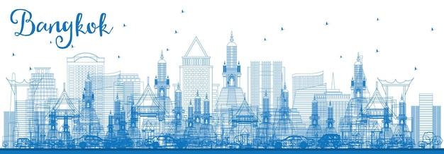 Zarys panoramę bangkoku z niebieskimi zabytkami. ilustracja wektorowa. podróże służbowe i koncepcja turystyki z bangkoku. obraz banera prezentacji i witryny sieci web.