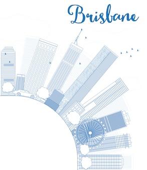 Zarys panoramę brisbane z niebieskim budynku i przestrzeni kopii