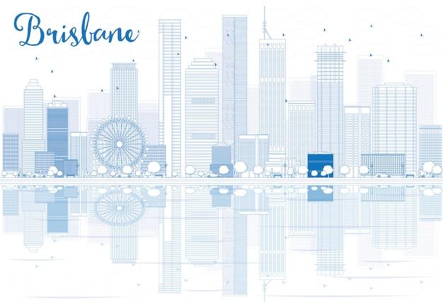 Zarys panoramę brisbane z niebieskimi budynkami i odbiciami.