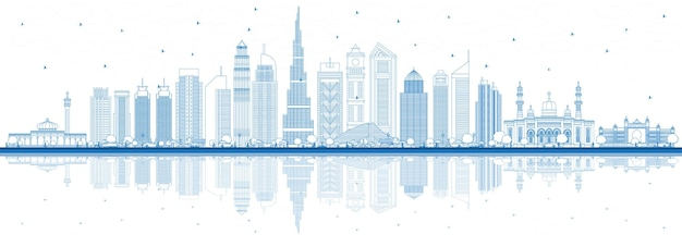 Zarys panoramę dubaju zea z niebieskimi budynkami i odbiciami. ilustracja wektorowa. podróże służbowe i turystyka ilustracja z nowoczesną architekturą. gród dubaju z zabytkami.