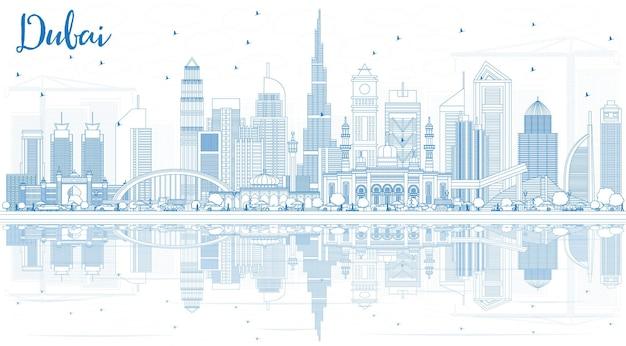 Zarys panoramę dubaju zea z niebieskimi budynkami i odbiciami. ilustracja wektorowa. podróże służbowe i turystyka ilustracja z nowoczesną architekturą.