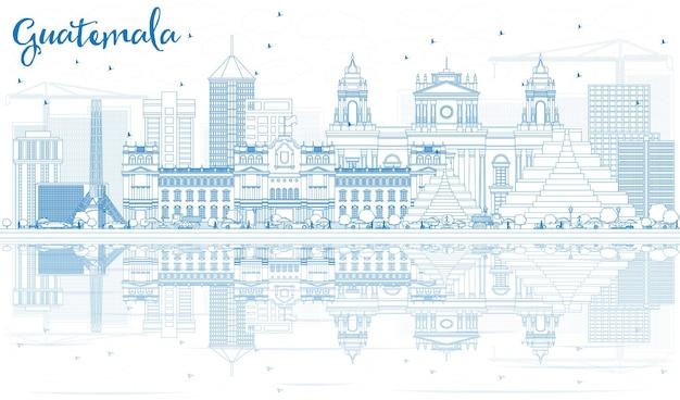 Zarys panoramę gwatemali z niebieskimi budynkami i odbiciami. ilustracja wektorowa. podróże służbowe i koncepcja turystyki z nowoczesną architekturą. obraz banera prezentacji i witryny sieci web.