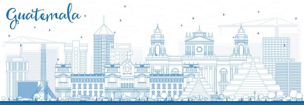 Zarys panoramę gwatemali z niebieskimi budynkami. ilustracja wektorowa. podróże służbowe i koncepcja turystyki z nowoczesną architekturą. obraz banera prezentacji i witryny sieci web.