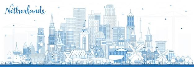 Zarys panoramę holandii z niebieskimi budynkami. ilustracja wektorowa. koncepcja turystyki z zabytkową architekturą. gród z zabytkami. amsterdam. rotterdamie. haga. utrechcie.