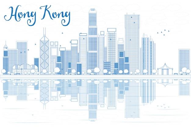 Zarys panoramę hongkongu z niebieskimi budynkami.