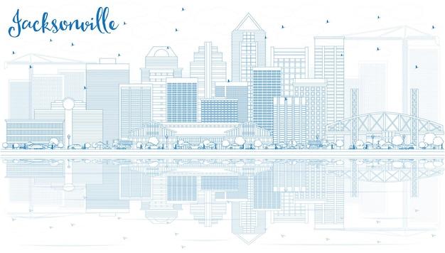 Zarys panoramę jacksonville z niebieskimi budynkami i odbiciami. ilustracja wektorowa. podróże służbowe i koncepcja turystyki z nowoczesną architekturą. obraz banera prezentacji i witryny sieci web.