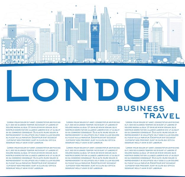 Zarys panoramę londynu z niebieskimi budynkami i miejscem na kopię. podróże służbowe i koncepcja turystyki z nowoczesnymi budynkami