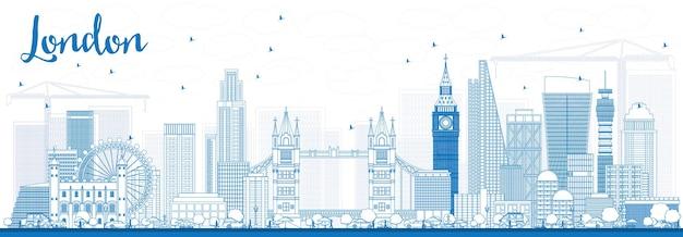 Zarys panoramę londynu z niebieskimi budynkami. ilustracja wektorowa.