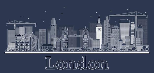 Zarys panoramę londynu z nowoczesnymi budynkami. ilustracja wektorowa.