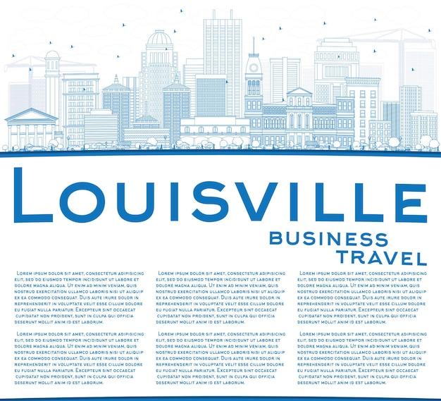Zarys panoramę louisville z niebieskimi budynkami i przestrzenią do kopiowania. ilustracja wektorowa. podróże służbowe i koncepcja turystyki z nowoczesną architekturą. obraz banera prezentacji i witryny sieci web.