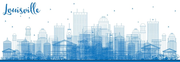 Zarys panoramę louisville z niebieskimi budynkami. ilustracja wektorowa. podróże służbowe i koncepcja turystyki z nowoczesną architekturą. obraz banera prezentacji i witryny sieci web.