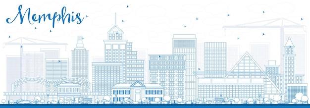 Zarys panoramę memphis z niebieskimi budynkami. ilustracja wektorowa. podróże służbowe i koncepcja turystyki z zabytkową architekturą. obraz banera prezentacji i witryny sieci web.