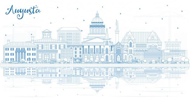 Zarys panoramę miasta augusta maine z niebieskimi budynkami i odbiciami