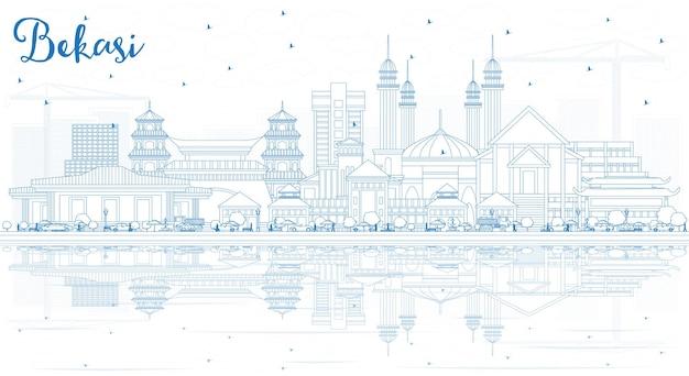 Zarys panoramę miasta bekasi indonesia z niebieskimi budynkami i odbiciami. ilustracja wektorowa. podróże służbowe i koncepcja turystyki z zabytkową architekturą. bekasi gród z zabytkami.