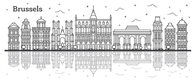 Zarys panoramę miasta bruksela belgia z zabytkowych budynków i odbicia na białym tle. ilustracja wektorowa. gród bruksela z zabytkami.