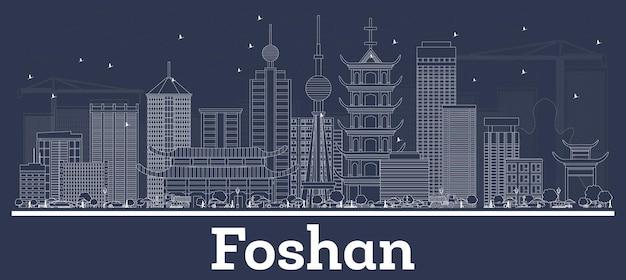 Zarys panoramę miasta foshan china city z białymi budynkami. ilustracja wektorowa. podróże służbowe i koncepcja z historyczną architekturą. foshan gród z zabytkami.