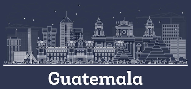 Zarys panoramę miasta gwatemala z białymi budynkami. ilustracja wektorowa. podróże służbowe i koncepcja z historyczną architekturą. gwatemala gród z zabytkami.